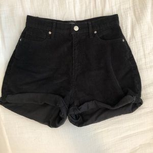 Black corduroy BDQ Urban Outfitters shorts